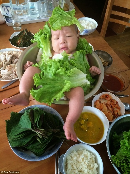 Chinese baby dressed as ''baby salad''