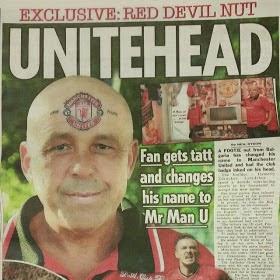 mr man u the man who got manchester united s emblem tattoo on forehead ozara gossip. Black Bedroom Furniture Sets. Home Design Ideas