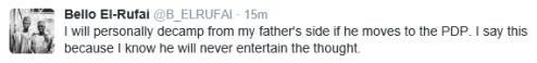 Tweet: Bello El-Rufai Against His Father's PDP Side - ozaragossip.wordpress.com