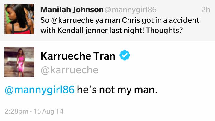 Karrueche Tran confirms her split with Chris Brown on twitter