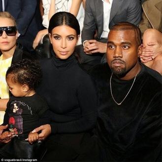 Kim Kardashian, Kanye West and North West at Balenciaga show in Paris | ozara gossip