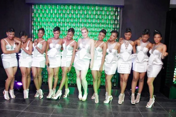 "Models at the ""Green Light party"" with Akon's official DJ, Benny D 