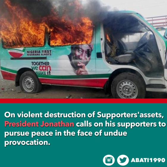 President Jonathan's campaign buses burnt in Jos | ozara gossip