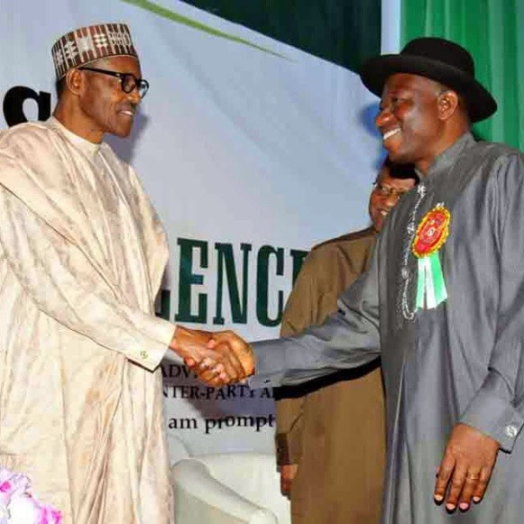 ozara gossip: Buhari shakes hands with President Goodluck Jonathan