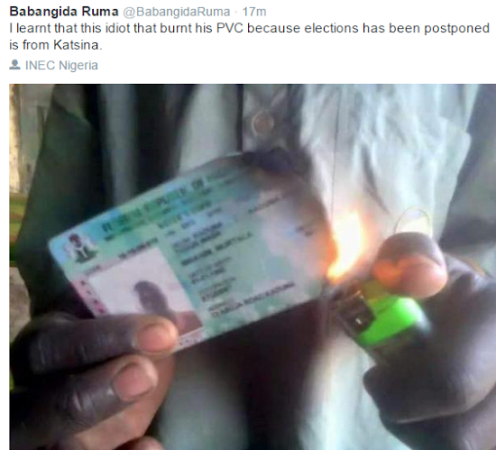 ozara gossip: Man burns his PVC because elections was postponed